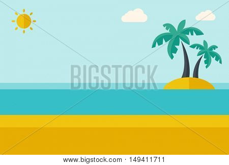 A tropical sea island with palm trees and sun. A Contemporary style with pastel palette, soft blue tinted background with desaturated clouds.  flat design illustration. Horizontal layout.