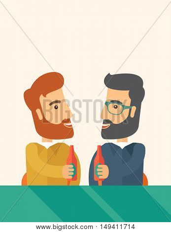 A two hipster co-workers from office to pub having fun drinking beer just to relax and stress free. A Contemporary style with pastel palette, soft beige tinted background.  flat design illustration