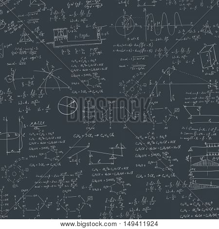 A blackboard with mechanical formula. A Contemporary style.  flat design illustration isolated black background. Square layout