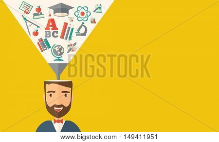A man with icons and student ideas. A Contemporary style with pastel palette, dark yellow tinted background.  flat design illustration. Horizontal layout with text space in right side.