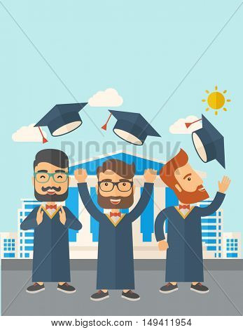A smiling three men throwing graduation cap in the air. A Contemporary style with pastel palette, soft blue tinted background with desaturated clouds.  flat design illustration. Vertical layout with