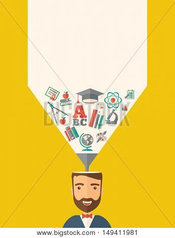 A man with icons and student ideas. A Contemporary style with pastel palette, dark yellow tinted background.  flat design illustration. Vertical layout with text space on top part.