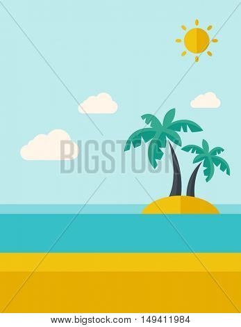 A tropical sea island with palm trees and sun. A Contemporary style with pastel palette, soft blue tinted background with desaturated clouds.  flat design illustration. Vertical layout.