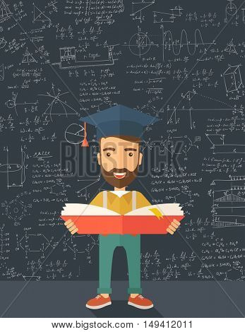 Man sstanding and reading  a book, wearing graduation cap, representing to be graduated in studying or finished school or university. A Contemporary style with pastel palette, black tinted background