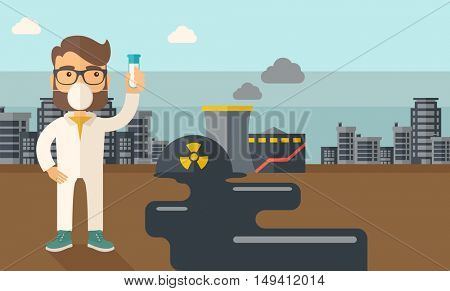 A scienteist with mask and holding a test tube doing a research. A Contemporary style with pastel palette, soft blue tinted background with desaturated clouds. flat design illustration. Horizontal