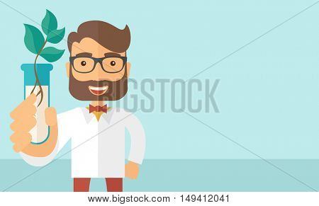 A chemist holding a test tube with eco leaves. A Contemporary style with pastel palette, soft blue tinted background. flat design illustration. Horizontal layout with text space in right side.