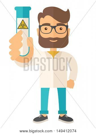 A young Scientists experimenting with glass tube. A Contemporary style. flat design illustration isolated white background. Vertical layout