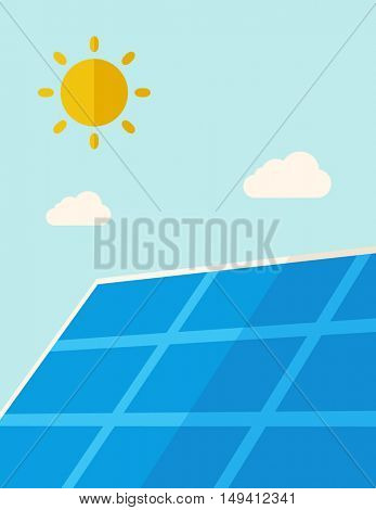A solar energy panel under the heat of the sun. A Contemporary style with pastel palette, soft blue tinted background with desaturated clouds. flat design illustration. Vertical layout.