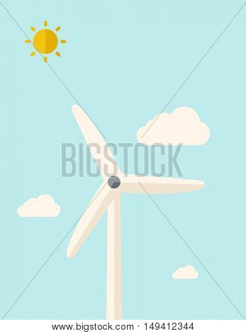 One windmill standing under the heat of the sun. A Contemporary style with pastel palette, soft blue tinted background with desaturated clouds. flat design illustration. Vertical layout.