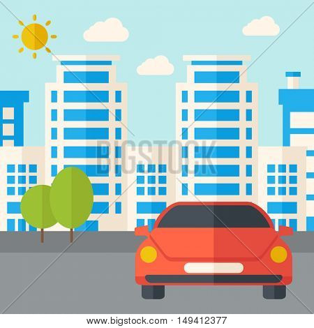 A car park infront of the building. A Contemporary style with pastel palette, soft blue tinted background with desaturated clouds. flat design illustration. Square layout.