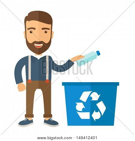 A hipster throwing plastic container into blue can with recycle symbol. A Contemporary style. flat design illustration isolated white background. Square layout.