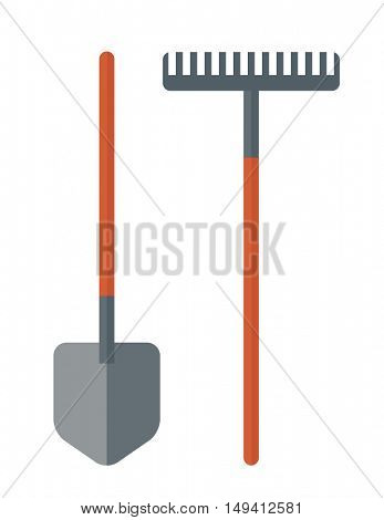 A shovel and rake are gardening tools. A Contemporary style. flat design illustration isolated white background. Vertical layout.