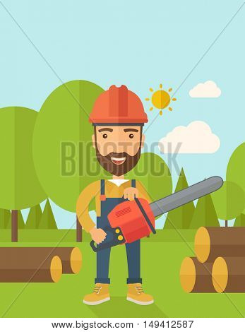 Lumberjack with hard hat as protection cuts a tree by chainsaw under the heat of the sun. A Contemporary style with pastel palette, soft blue tinted background with desaturated clouds. flat design