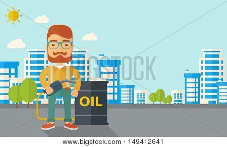 A caucasian businessman standing beside the oil can with pump infornt of the buildings. A Contemporary style with pastel palette, soft blue tinted background with desaturated clouds. flat design