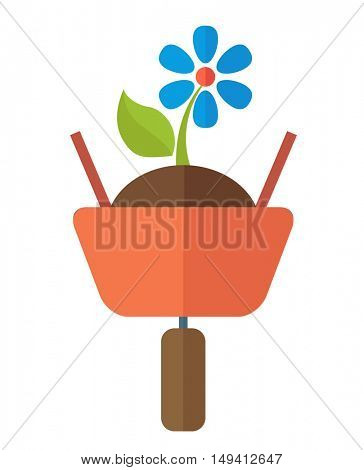 A wheelbarrow with soil and flower plant. A Contemporary style. flat design illustration isolated white background. Vertical layout.