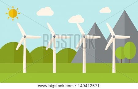 Four windmills standing under the heat of the sun. A Contemporary style with pastel palette, soft blue tinted background with desaturated clouds. flat design illustration. Horizontal layout.