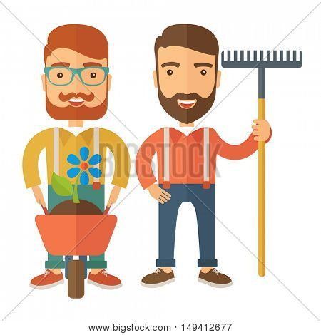 A two smiling gardener carries a plant in wheelbarrow and holding a rake. A Contemporary style. flat design illustration isolated white background. Square layout