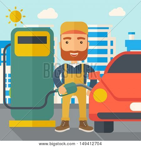 A happy hipster gasoline boy filling up fuel into the car. A Contemporary style with pastel palette, soft blue tinted background with desaturated clouds. flat design illustration. Square layout.