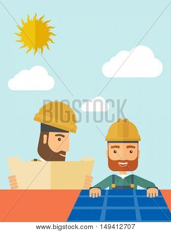 A man putting a solar panel on the roof as a alternative energy system. A Contemporary style with pastel palette, soft beige tinted background with desaturated cloud.  flat design illustration