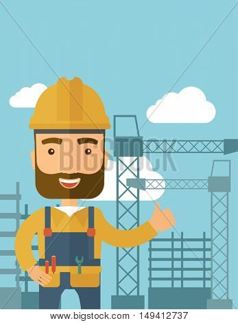 A construction worker standing with crane tower background. A Contemporary style with pastel palette, soft blue tinted background with desaturated clouds. flat design illustration. Vertical layout.