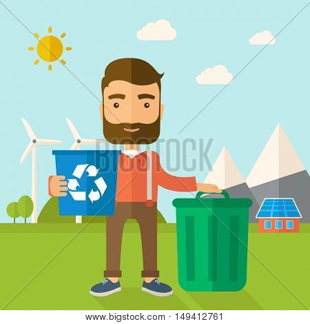 A Caucasian standing outside the house sorting a trash and will throw to the barbage bin. Eco-friendly. A Contemporary style with pastel palette, soft blue tinted background with desaturated clouds