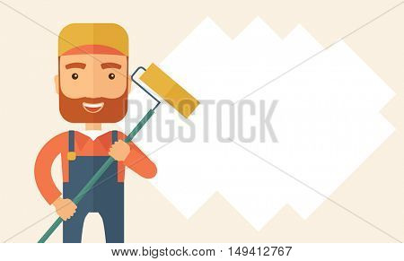 A young Caucasian glass cleaner wearing hat holding stick rubber scraper. A Contemporary style with pastel palette, soft beige tinted background. flat design illustration. Horizontal layout with text
