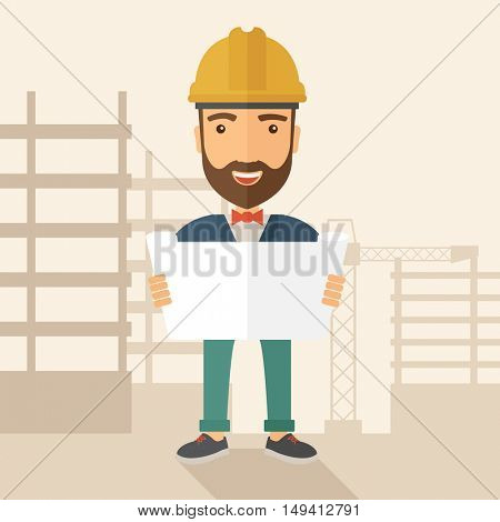 A young hipster engineer holding while reviewing the construction plan. A Contemporary style with pastel palette, soft beige tinted background. flat design illustration. Square layout.