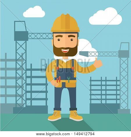 A construction worker standing with crane tower background. A Contemporary style with pastel palette, soft blue tinted background with desaturated clouds. flat design illustration. Square layout.