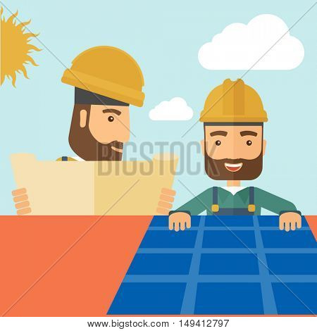 A man putting a solar panel on the roof as a alternative energy system. A Contemporary style with pastel palette, soft beige tinted background with desaturated cloud.  flat design illustration. Square