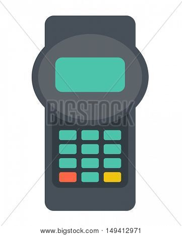 A credit card reader machine. A contemporary style. flat design illustration with isolated white background. Vertical layout