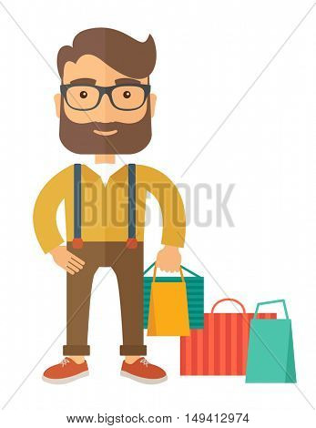 A man who go shopping with paper bags. A contemporary style. flat design illustration with isolated white background. Vertical layout.