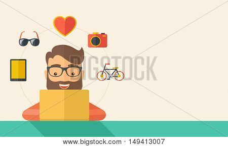 Man making a purchase using laptop with internet in online shopping with promo discount. A Contemporary style with pastel palette, soft beige tinted background. flat design illustration. Horizontal