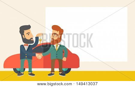 A Car sale handed to other man. A Contemporary style with pastel palette, soft beige tinted background. flat design illustration. Horizontal layout with text space in right side.