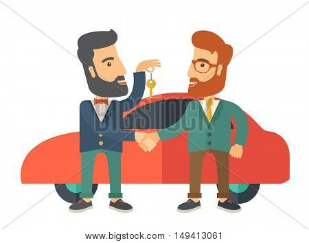 A Car sale handed to other man. A Contemporary style with pastel palette. flat design illustration isolated on white background.