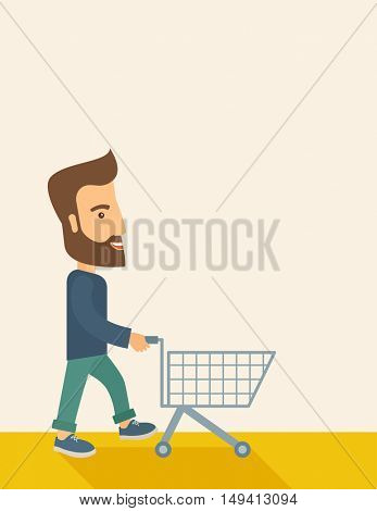A handsome guy pushing an empty cart. A Contemporary style with pastel palette, soft beige tinted background. flat design illustration. Vertical layout with text space in right side.