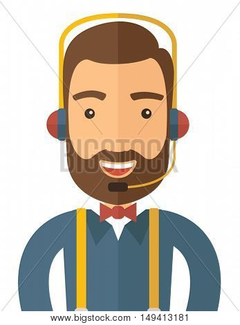 An operator man with headset customer service helpdesk service. Call center concept. A contemporary style. flat design illustration with isolated white background. Vertical layout.