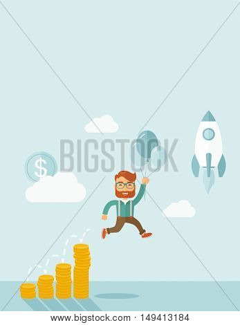 Businessman holding balloons fly high with coin graph that shows increase in sales. Start up business concept. A Contemporary style with pastel palette, soft blue tinted background with desaturated