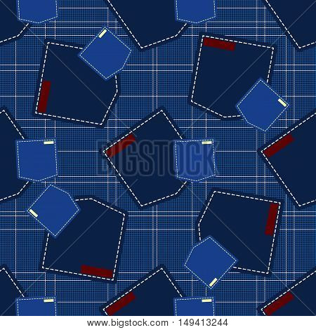 Denim style vector seamless pattern. Elements for your design. Eps10