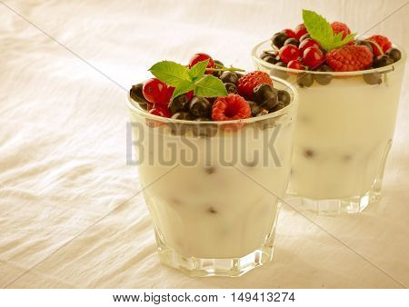 Sweet dessert, pudding, panna cotta with mix berries and mint, on white background, toned