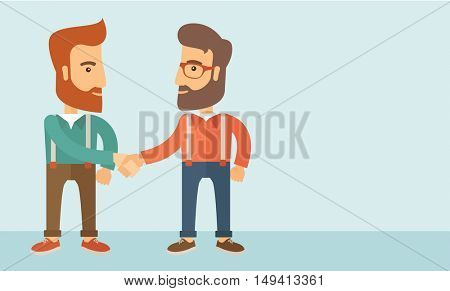 Two hipster Caucasian men standing facing each other handshaking for the successful business deal. Business partnership concept. A contemporary style with pastel palette, soft blue tinted background