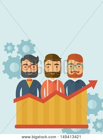 Three businessmen with beards over growing chart. Perspective business concept.  flat design Illustration. Vertical layout with a text space in a top.