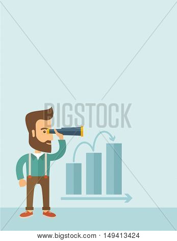 A Caucasian businessman standing using binocular to look over the graph that shows increasing in slaes. Growing business concept. A contemporary style with pastel palette, soft blue tinted background