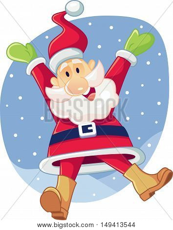 Super Excited Santa Claus Vector Cartoon Waiting for Christmas