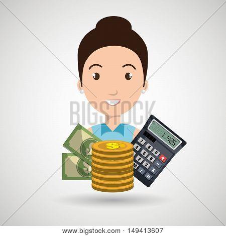 woman money coins calculator vector illustration eps 10