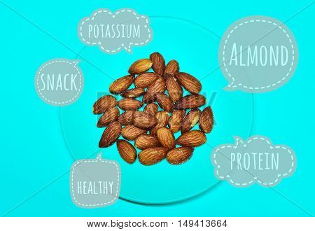 Almond snack, Almond in turquoise bowl on sweet colored background