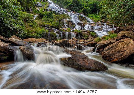Mae Ya waterfall is a beautiful waterfall in Chiang Mai Thailand.