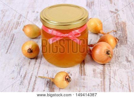 Fresh Organic Honey In Glass Jar And Onions On Wooden Background, Healthy Nutrition And Strengthenin