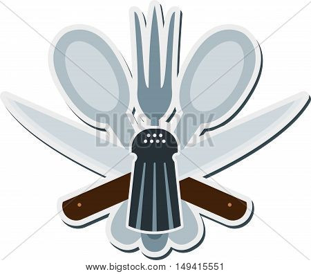 Abstract cooking emblem with cutlery and salt