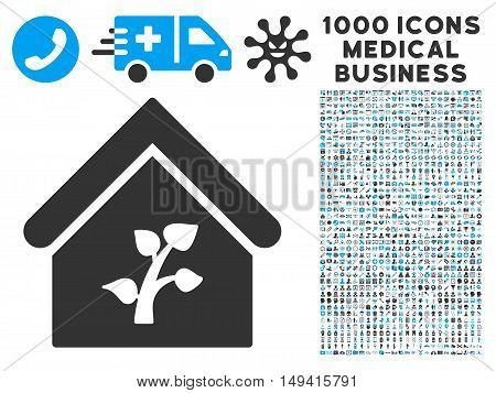 Greenhouse Building icon with 1000 medical business gray and blue vector pictograms. Clipart style is flat bicolor symbols, white background.