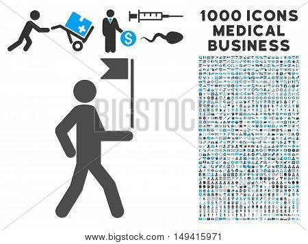 Guide Man With Flag icon with 1000 medical commercial gray and blue vector pictographs. Set style is flat bicolor symbols, white background.
